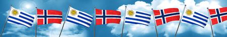 bandera de uruguay: Uruguay flag with Norway flag, 3D rendering Foto de archivo