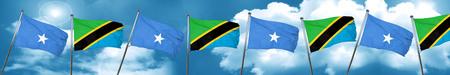 somalia: Somalia flag with Tanzania flag, 3D rendering