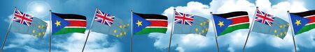 tuvalu: Tuvalu flag with South Sudan flag, 3D rendering