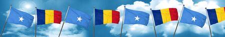 combines: Bandera de Somalia con la bandera de Rumania, representación 3D Foto de archivo