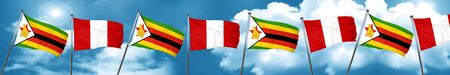 bandera de peru: Zimbabwe flag with Peru flag, 3D rendering Foto de archivo