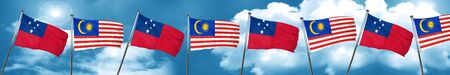 Samoa flag with Malaysia flag, 3D rendering Stock Photo