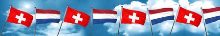 switzerland flag with Netherlands flag, 3D rendering