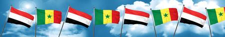 yemen: Yemen flag with Senegal flag, 3D rendering