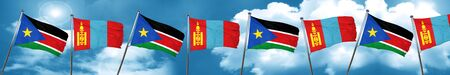 mongolia: south sudan flag with Mongolia flag, 3D rendering