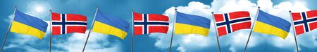 Ukraine flag with Norway flag, 3D rendering Stock Photo
