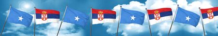 Somalia flag with Serbia flag, 3D rendering Stock Photo