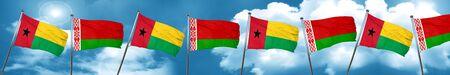 Guinea bissau flag with Belarus flag, 3D rendering
