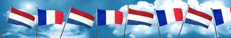 combined: Netherlands flag with France flag, 3D rendering