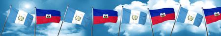 bandera de guatemala: guatemala flag with Haiti flag, 3D rendering
