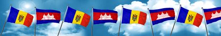 Moldova flag with Cambodia flag, 3D rendering Stock Photo