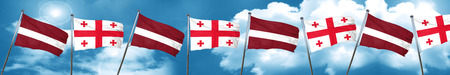 Latvia flag with Georgia flag, 3D rendering Stock Photo