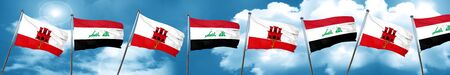 iraq flag: gibraltar flag with Iraq flag, 3D rendering