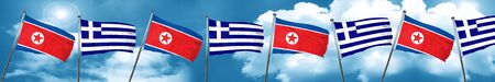 combined: North Korea flag with Greece flag, 3D rendering Stock Photo