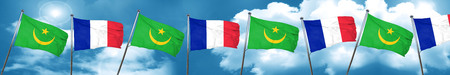 Mauritania flag with France flag, 3D rendering Stock Photo