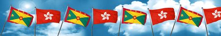grenada: Grenada flag with Hong Kong flag, 3D rendering
