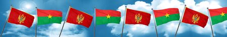 Montenegro flag with Burkina Faso flag, 3D rendering