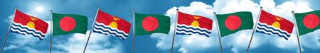 Kiribati flag with Bangladesh flag, 3D rendering