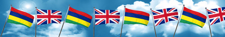 combined: Mauritius flag with Great Britain flag, 3D rendering