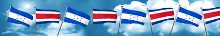 bandera honduras: Honduras flag with Costa Rica flag, 3D rendering
