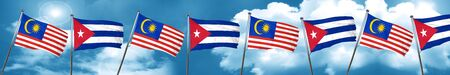 cuban culture: Malaysia flag with cuba flag, 3D rendering Stock Photo