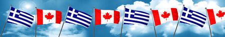 Greece flag with Canada flag, 3D rendering