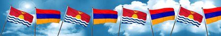 Kiribati flag with Armenia flag, 3D rendering Stock Photo