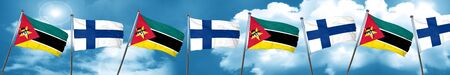 Mozambique flag with Finland flag, 3D rendering