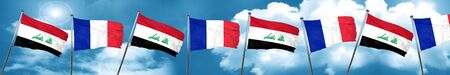 iraq flag: Iraq flag with France flag, 3D rendering