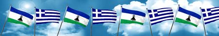 Lesotho flag with Greece flag, 3D rendering