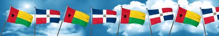 Bandera de Guinea Bissau con la bandera de la República Dominicana, 3D