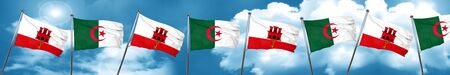 gibraltar flag with Algeria flag, 3D rendering