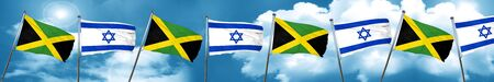 jamaican: Jamaica flag with Israel flag, 3D rendering Stock Photo