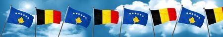 Bandera de Kosovo con la bandera de Bélgica, 3D Foto de archivo