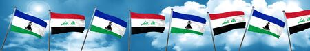 iraqi: Lesotho flag with Iraq flag, 3D rendering