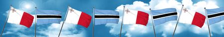 Malta flag with Botswana flag, 3D rendering