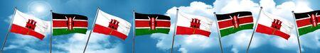 Bandera de gibraltar con la bandera de Kenia, 3D