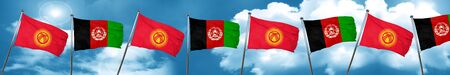 Kyrgyzstan flag with afghanistan flag, 3D rendering Stock Photo