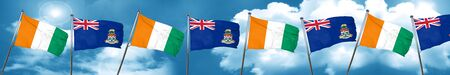 Ivory coast flag with Cayman islands flag, 3D rendering Stock Photo