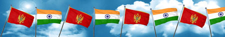 Montenegro flag with India flag, 3D rendering Stock Photo