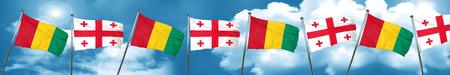 georgian: Guinea flag with Georgia flag, 3D rendering
