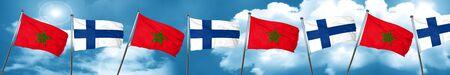 Bandera de Marruecos con la bandera de Finlandia, representación 3D