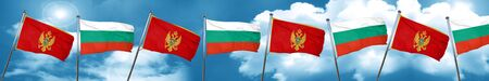 Montenegro flag with Bulgaria flag, 3D rendering