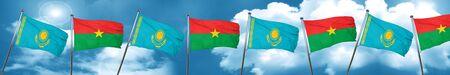 Kazakhstan flag with Burkina Faso flag, 3D rendering