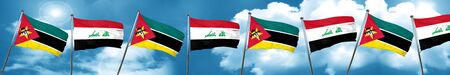 Mozambique flag with Iraq flag, 3D rendering