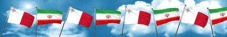 combines: Malta bandera con la bandera de Irán, representación 3D