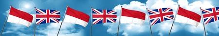 bandera de gran bretaña: monaco flag with Great Britain flag, 3D rendering
