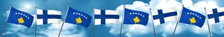 Kosovo flag with Finland flag, 3D rendering Stock Photo