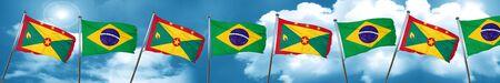 grenada: Grenada flag with Brazil flag, 3D rendering