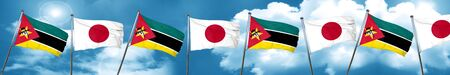 Mozambique flag with Japan flag, 3D rendering Stock Photo